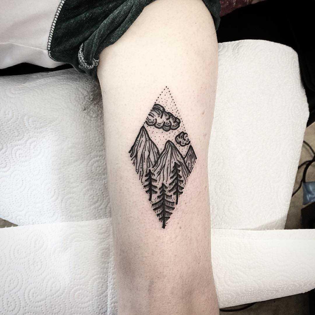 Small landscape tattoo by Deborah Pow