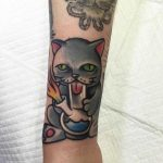 Smoking cat tattoo