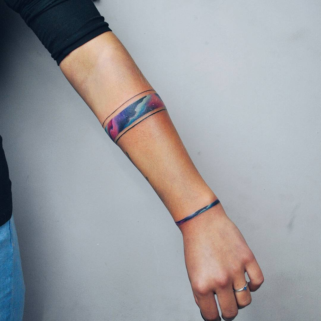 Space bracelet tattoo by Valeria Yarmola