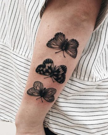 Three butterfly tattoos by Finley Jordan