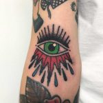 Traditional eye tattoo by Łukasz Krupiński