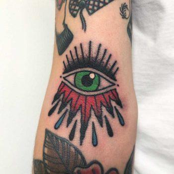 Traditional eye tattoo by Łukasz Krupiński