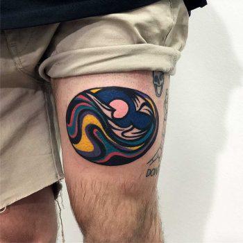 Trippy landscape tattoo by Eugene Dusty Past
