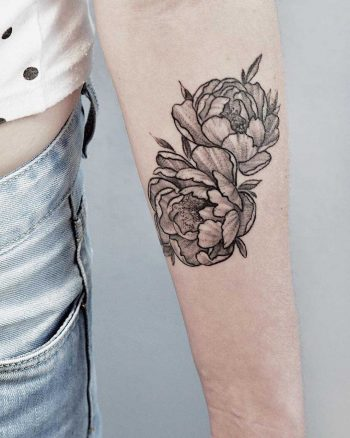 Two black and grey peony tattoos