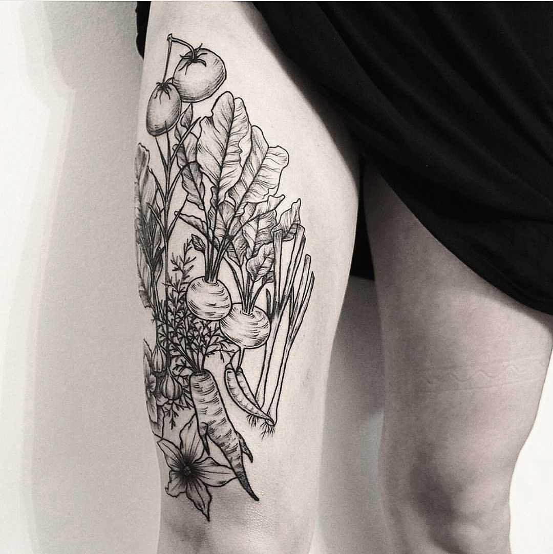 Various vegetables tattoo