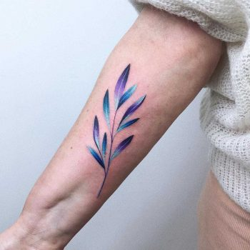 Watercolor branch tattoo by Valeria Yarmola