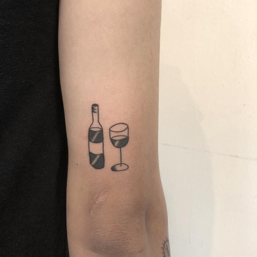 Wine bottle and glass tattoo by yeahdope