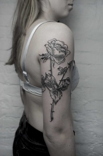 Woodcut rose tattoo by SVA