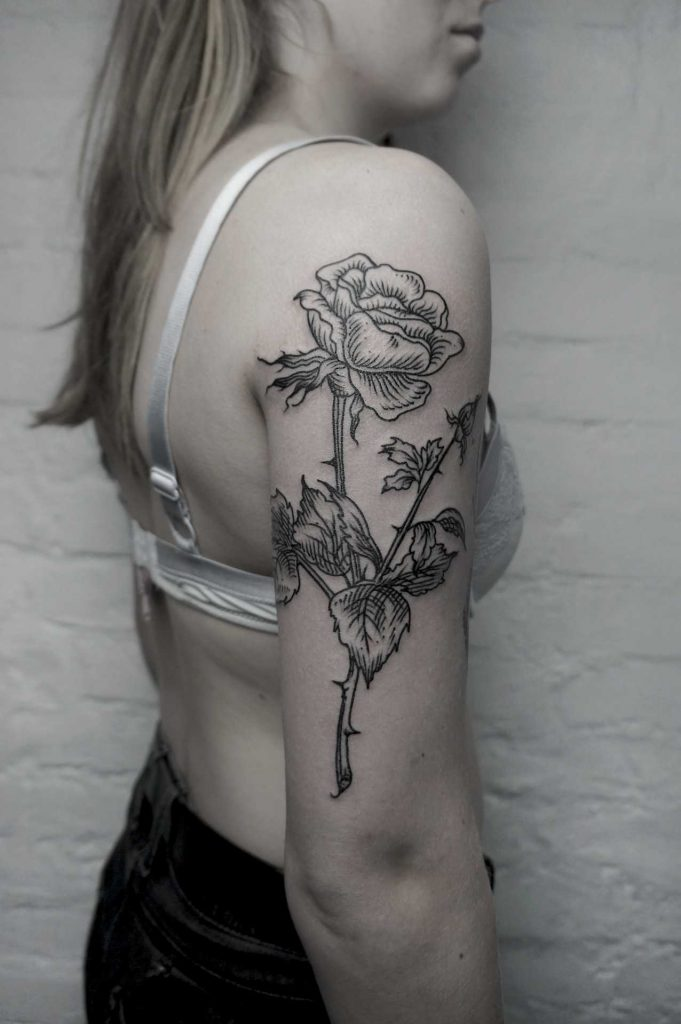 Woodcut rose tattoo by SVA