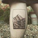 Blackwork mountains by tattooist Spence @zz tattoo