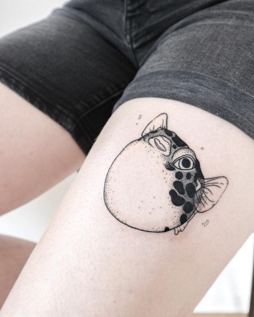 Blowfish tattoo by Ann Gilberg