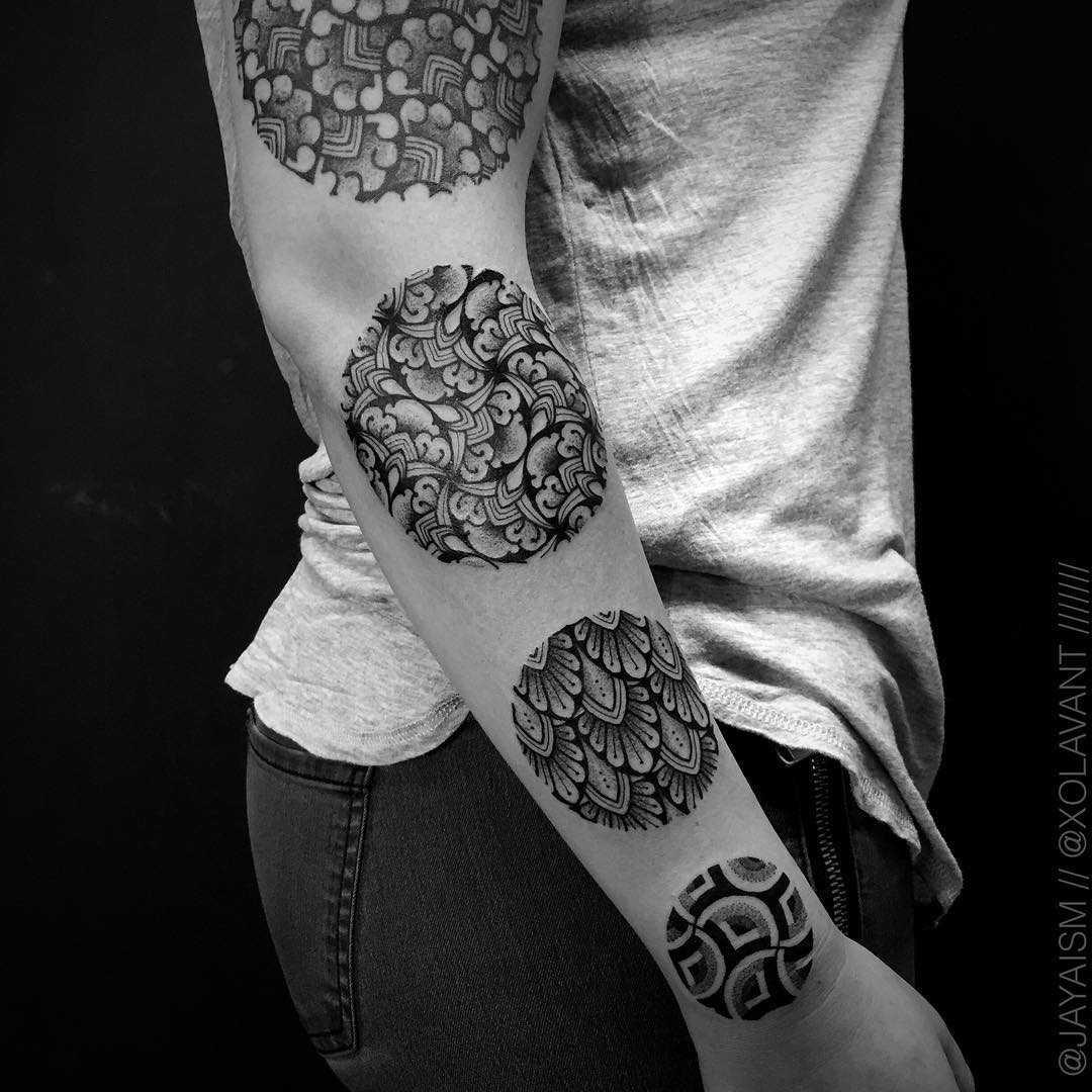 Circle pattern tattoos by Jaya Suartika