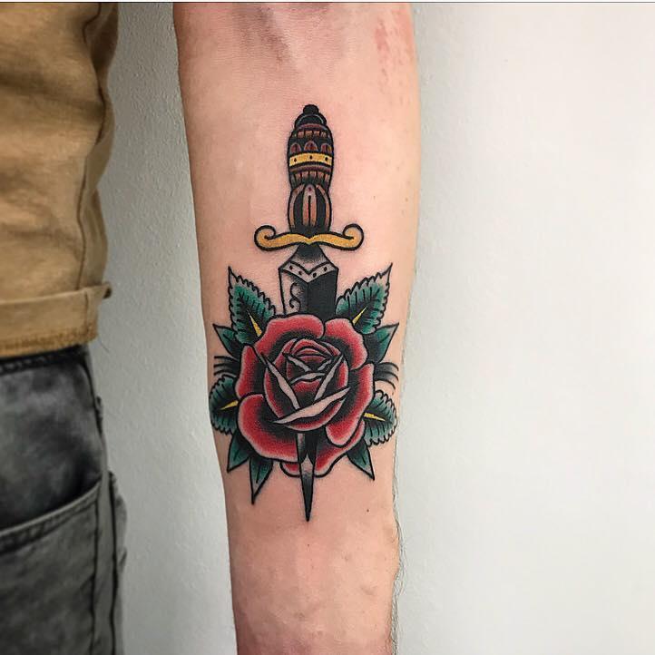 Classic dagger and rose by Łukasz Krupiński