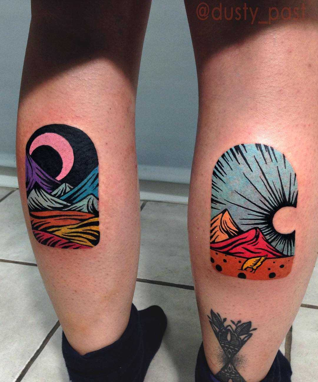 Colorful landscapes on both calves by Eugene Dusty Past
