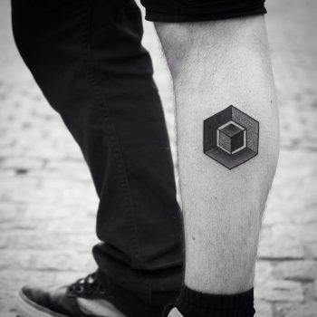 Cube within a cube tattoo by Wagner Basei