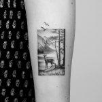 Deer in a forest tattoo by Amanda Piejak