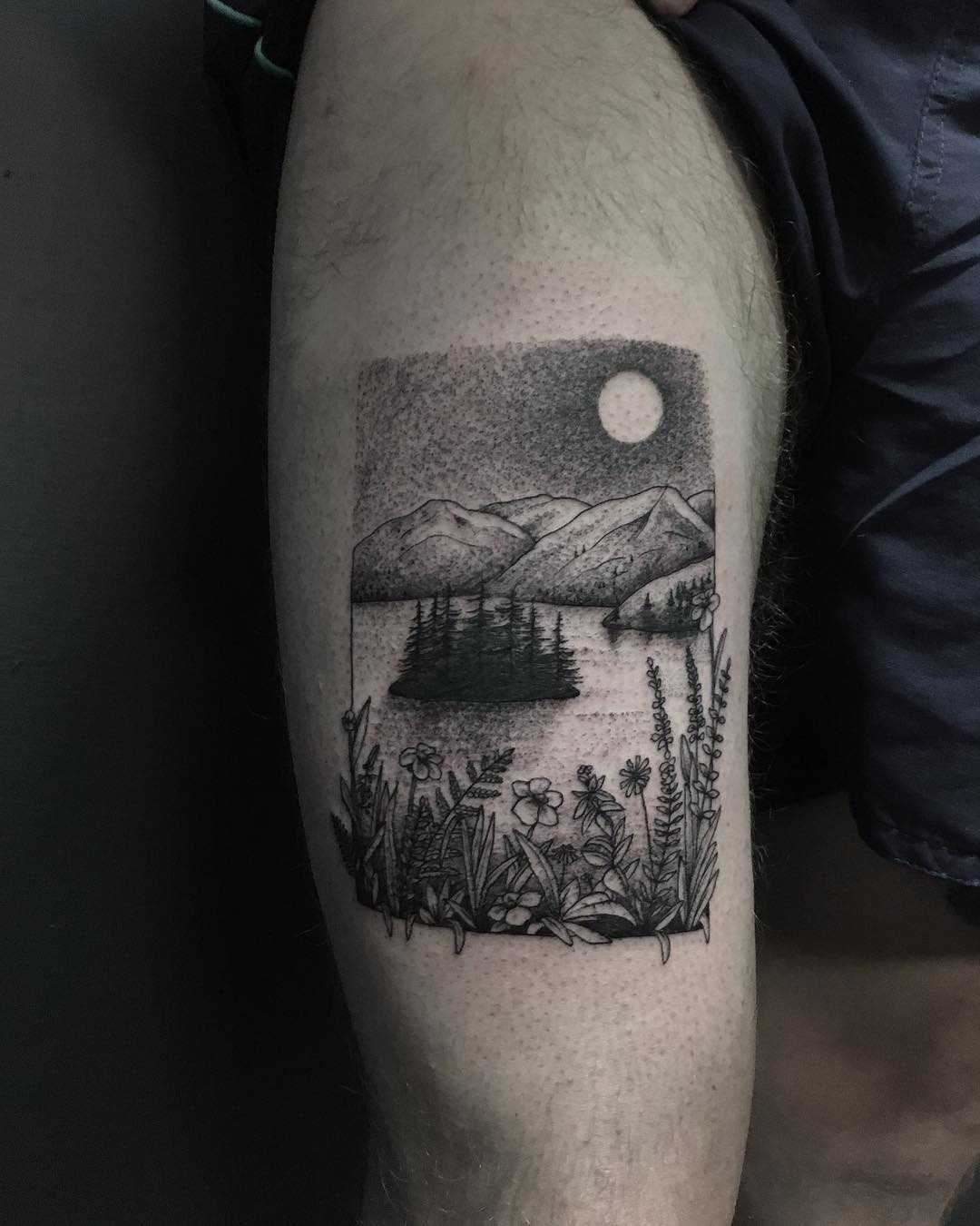 Fjord landscape by tattooist Spence @zz tattoo