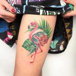 Flamingo tattoo by Valeria Yarmola