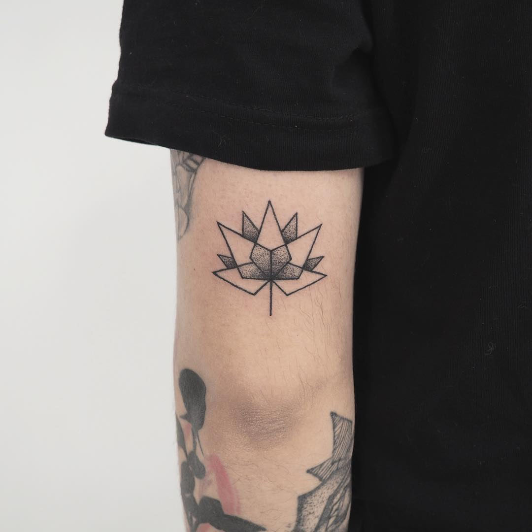 Geometric Lotus flower tattoo by anton1otattoo