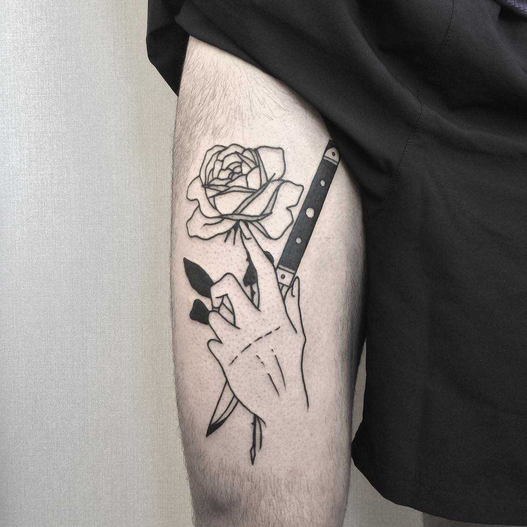 Glamourous violence tattoo by Johnny Gloom