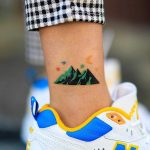 Hand-poked colorful mountain by zzizziboy