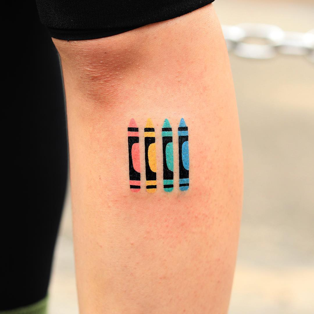Hand-poked crayons tattoo by zzizziboy