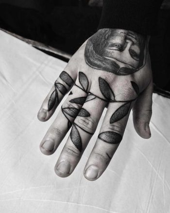 Hand-poked leaves by Oliver Whiting