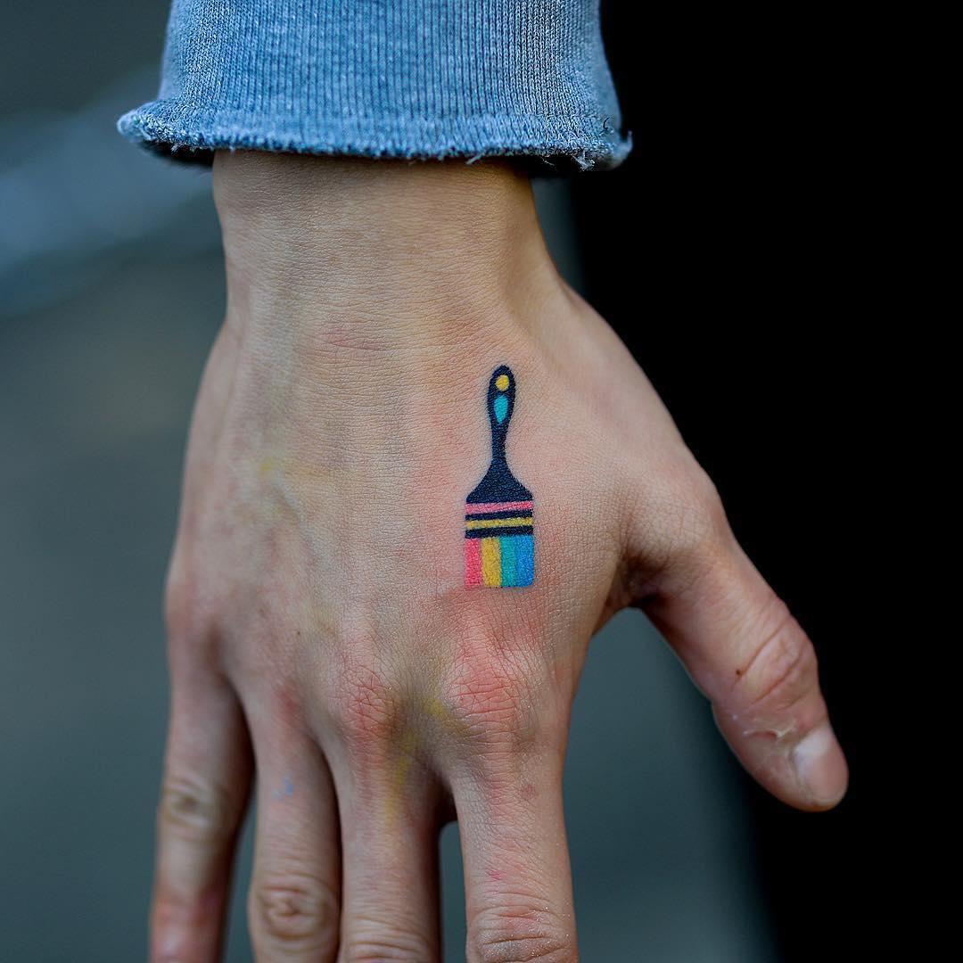 Hand-poked paintbrush tattoo by zzizziboy