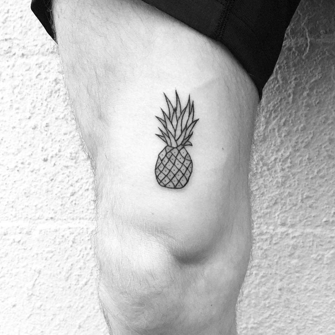 Hand-poked pineapple tattoo by Nadia Rose