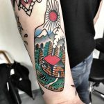 Landscape bottle tattoo by Mike Nofuck