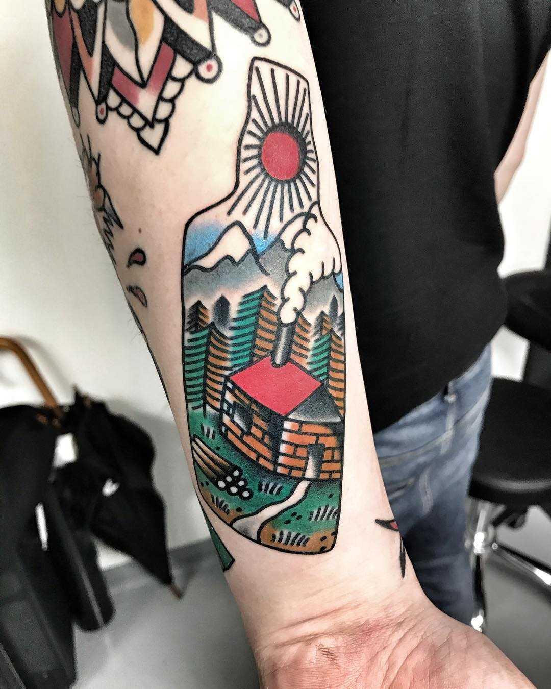 Landscape bottle tattoo by Mike Nofuck