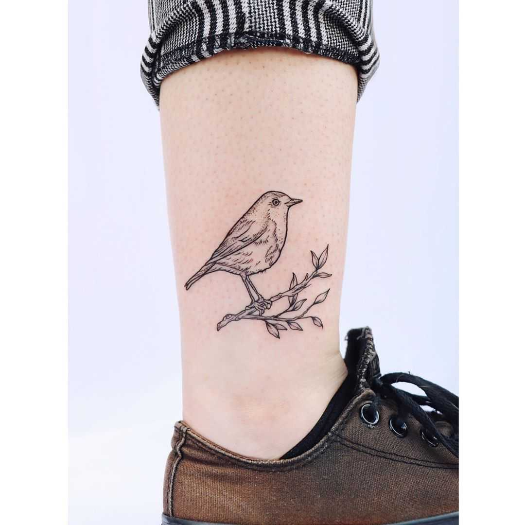 Little robin tattoo by artist Zaya