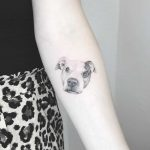 Lovely dog portrait tattoo by Annelie Fransson