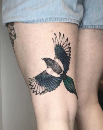 Magpie tattoo by Annelie Fransson