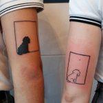 Matching dog tattoos by Lara Simonetta