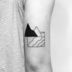 Minimalist beach and mountains tattoo by Chinatown Stropky