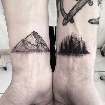 Mountain and forest by tattooist Spence @zz tattoo
