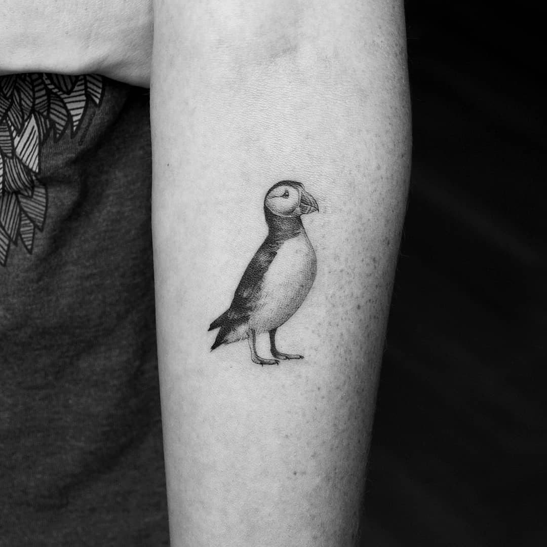 Puffin bird tattoo by Amanda Piejak