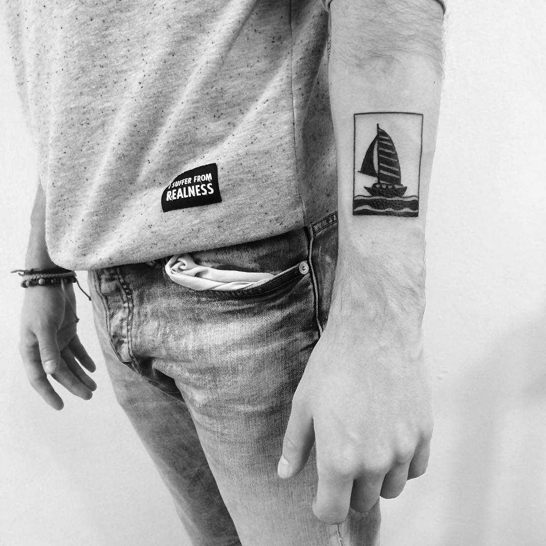 Sailboat tattoo by Chinatown Stropky