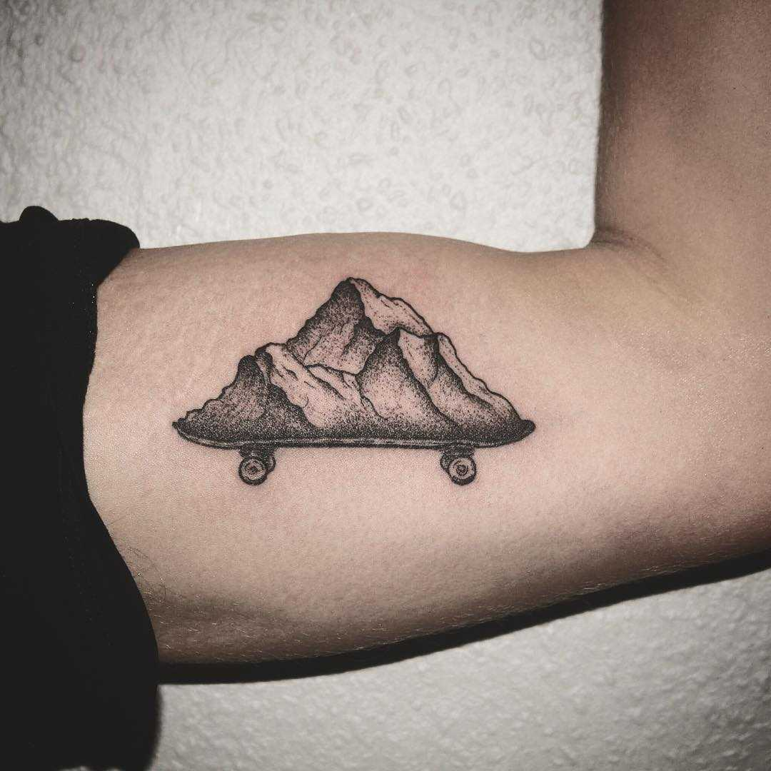 Skateboard mountain by tattooist Spence @zz tattoo