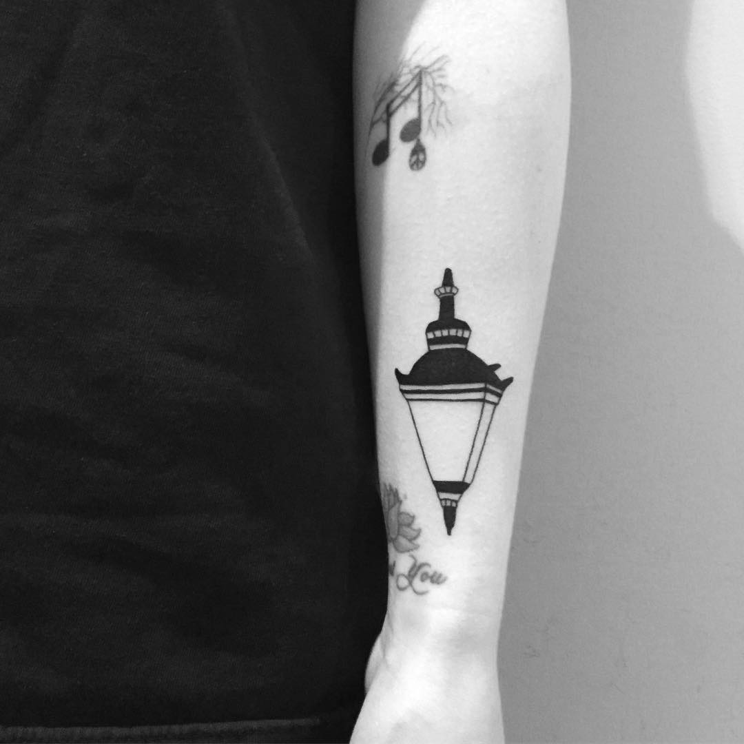 Street lamp tattoo by Chinatown Stropky