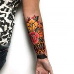 Traditional flower vase tattoo by Mike Nofuck