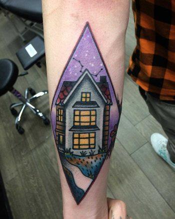 Traditional house tattoo by Łukasz Krupiński