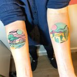 Two circular landscape tattoos by Eugene Dusty Past