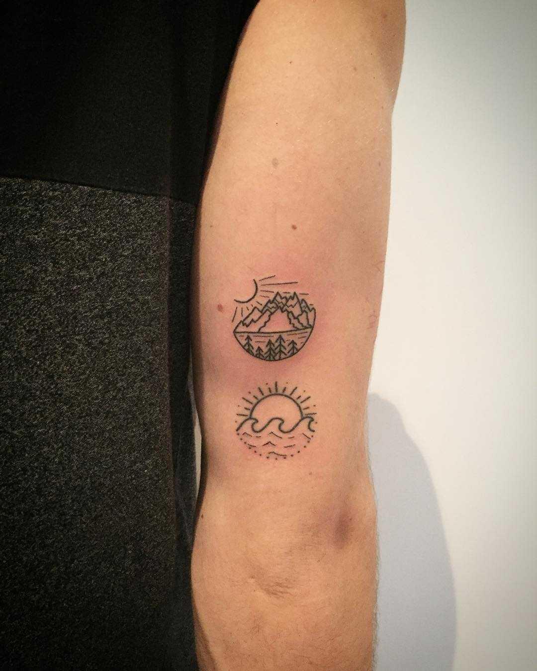 Two little scene tattoos by Kirk Budden