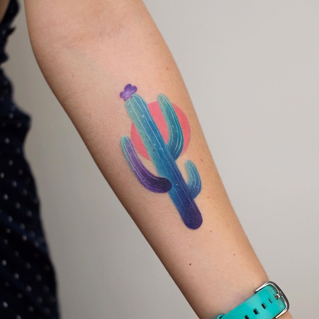 Watercolor cacti by Valeria Yarmola