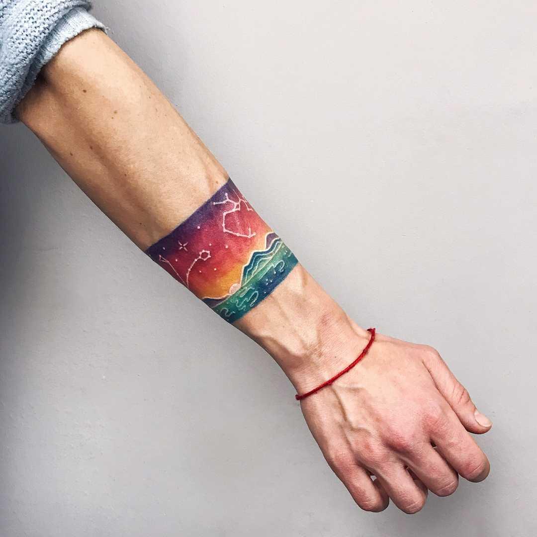Watercolor landscape bracelet by Valeria Yarmola