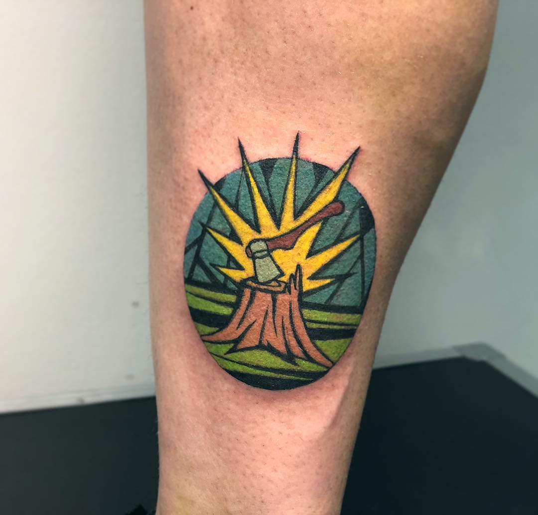 Woodcutter's tattoo by Eugene Dusty Past
