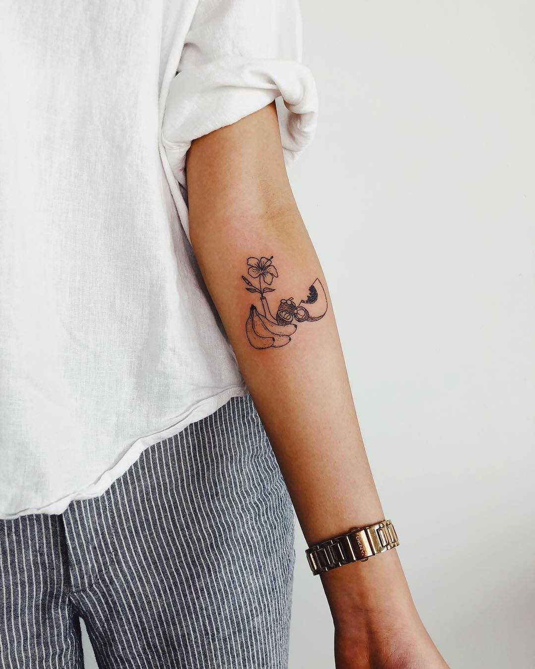 A fruit medley tattoo by Kelli Kikcio