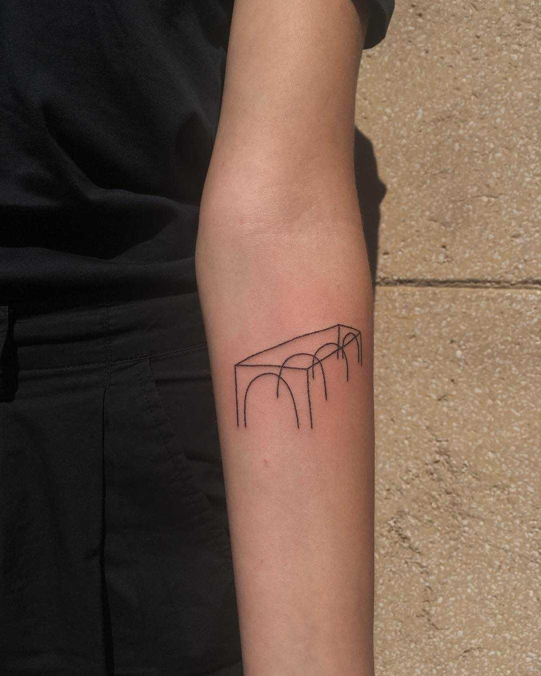 Abstract bridge tattoo by Jessica Rubbish